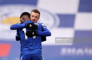 Leicester City's Nigerian striker Kelechi Iheanacho (L) celebrates scoring the opening goal with Leicester City's English striker Jamie Vardy (back) during the English Premier League football match between Leicester City and Sheffield United at King Power Stadium in Leicester, central England on March 14, 2021.