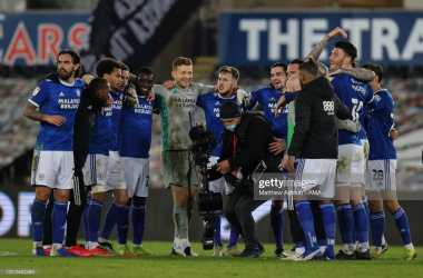 Cardiff City players celebrate following their 1-0 win over Swansea City last season(Photo by Matthew Ashton - AMA/Getty Images)