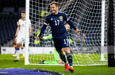 GLASGOW, SCOTLAND - MARCH 31: Ryan Fraser celebrates after scoring to make it 4-0 Scotland during a World Cup qualifier between Scotland and the Faroe Islands at Hampden Park, on March 31, 2021, in Glasgow, Scotland. (Photo by Craig Williamson/SNS Group via Getty Images)