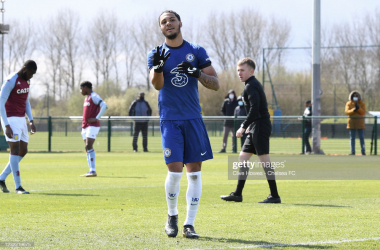 <i><span>Myles Peart-Harris celebrates scoring his third goal for Chelsea Under-18s in a 7-0 demolition of Aston Villa Under-18s in April 2021 | Photo by Getty Images/Clive Howes - Chelsea FC</span></i>