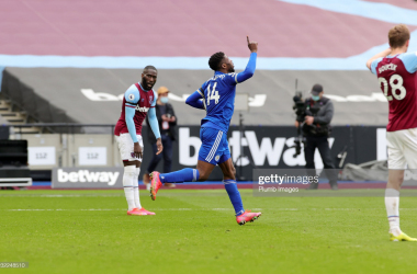LONDON, ENGLAND - APRIL 11: Kelechi Iheanacho of Leicester City celebrates after scoring to make it 3-2 during the Premier League match between West Ham United and Leicester City at London Stadium on April 11, 2021 in London, United Kingdom. Sporting stadiums around the UK remain under strict restrictions due to the Coronavirus Pandemic as Government social distancing laws prohibit fans inside venues resulting in games being played behind closed doors. (Photo by Plumb Images/Leicester City FC via Getty Images)