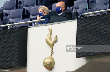Tottenham Hotspur's English chairman Daniel Levy (R) takes his seat in the director's box ahead of the English Premier League football match between Tottenham Hotspur and Southampton at Tottenham Hotspur Stadium in north London on April 21, 2021. - - RESTRICTED TO EDITORIAL USE. No use with unauthorized audio, video, data, fixture lists, club/league logos or 'live' services. Online in-match use limited to 120 images. An additional 40 images may be used in extra time. No video emulation. Social media in-match use limited to 120 images. An additional 40 images may be used in extra time. No use in betting publications, games or single club/league/player publications. (Photo by Adam Davy / POOL / AFP) / RESTRICTED TO EDITORIAL USE. No use with unauthorized audio, video, data, fixture lists, club/league logos or 'live' services. Online in-match use limited to 120 images. An additional 40 images may be used in extra time. No video emulation. Social media in-match use limited to 120 images. An additional 40 images may be used in extra time. No use in betting publications, games or single club/league/player publications. / RESTRICTED TO EDITORIAL USE. No use with unauthorized audio, video, data, fixture lists, club/league logos or 'live' services. Online in-match use limited to 120 images. An additional 40 images may be used in extra time. No video emulation. Social media in-match use limited to 120 images. An additional 40 images may be used in extra time. No use in betting publications, games or single club/league/player publications. (Photo by ADAM DAVY/POOL/AFP via Getty Images)