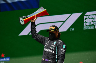 Lewis Hamilton of Mercedes-AMG Petronas F1 Team wins the Portuguese GP in Autodromo Internacional do Algarve, Mexilhoeira Grande, Portimao, Algarve, 2 May 2021 (Photo by Andrea Diodato/NurPhoto via Getty Images)