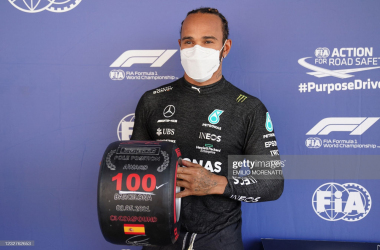 Mercedes' British driver Lewis Hamilton poses after the qualifying session at the Circuit de Catalunya on May 8, 2021 in Montmelo on the outskirts of Barcelona ahead of the Spanish Formula One Grand Prix. (Photo by EMILIO MORENATTI via Getty Images)