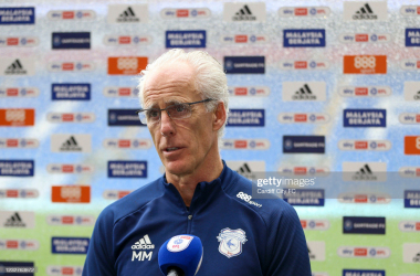 Cardiff City manager Mick McCarthy speaks to the press following his side's 1-1 draw to Rotherham United / Photo by Cardiff City FC/Getty Images