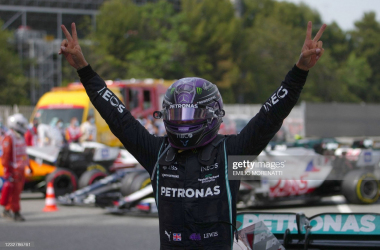 Mercedes' British driver Lewis Hamilton celebrates after crossing the finish line during the Spanish Formula One Grand Prix race at the Circuit de Catalunya on May 9, 2021 in Montmelo on the outskirts of Barcelona. (Photo by Emilio Morenatti / POOL / AFP) (Photo by EMILIO MORENATTI/POOL/AFP via Getty Images)