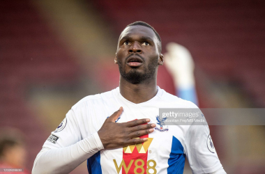 Christian Benteke celebrates after scoring the opening goal during the Premier League match between Southampton and Crystal Palace at St Mary's Stadium on May 11, 2021(Photo by Sebastian Frej/MB Media/Getty Images)