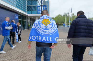 LEICESTER, ENGLAND - MAY 15: Leicester City fans leave the King Power Stadium on the way to the FA Cup Final on May 15, 2021 in Leicester, England. (Photo by Plumb Images/Leicester City FC via Getty Images)