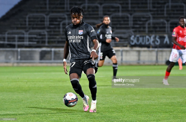 Maxwel Cornet in action in the final Ligue 1 game of the 2020/21 season against Nimes. Photo by Alexandre Dimou/Icon Sport via Getty Images.