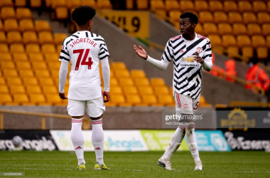 Anthony Elanga and Shola Shoretire in action against Wolves |Photo by Ash Donelon/Manchester United via Getty Images