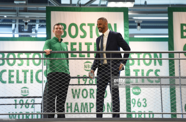 BOSTON, MA - JUNE 28: President, Brad Stevens of the Boston Celtics introduces Ime Udoka as new head coach of the Boston Celtics after a press conference on June 28, 2021 at the TD Garden in Boston, Massachusetts. NOTE TO USER: User expressly acknowledges and agrees that, by downloading and or using this photograph, User is consenting to the terms and conditions of the Getty Images License Agreement. Mandatory Copyright Notice: Copyright 2021 NBAE (Photo by Brian Babineau/NBAE via Getty Images)