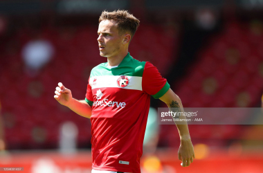 Above: Walsall midfielder Liam Kinsella in action against Crystal Palace during pre-season. (Photo taken by James Williamson/Getty Images)