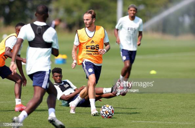 LEICESTER, ENGLAND - JULY 20: James Maddison of Leicester City during the Leicester City training session at Leicester City Training Ground, Seagrave on July 20th, 2021 in Leicester, United Kingdom. (Photo by Plumb Images/Leicester City FC via Getty Images)