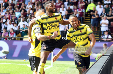 Emmanuel Dennis of Watford celebrates scoring the opening goal for Watford via Charlotten Wilson- Getty Images