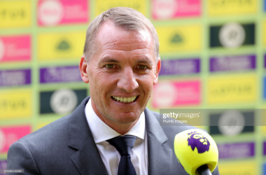 NORWICH, ENGLAND - AUGUST 28: Leicester City Manager Brendan Rodgers ahead of the Premier League match between Norwich City and Leicester City at Carrow Road on August 28, 2021 in Norwich, England. (Photo by Plumb Images/Leicester City FC via Getty Images)