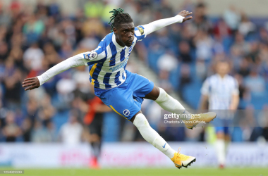 BRIGHTON, ENGLAND - AUGUST 28: Yves Bissouma of Brighton & Hove Albion during the Premier League match between Brighton & Hove Albion and Everton at American Express Community Stadium on August 28, 2021 in Brighton, England. (Photo by Charlotte Wilson/Offside/Offside via Getty Images)