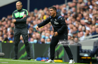 Xisco Munoz, Watford head coach, instructs his team from the sidelines in a 1-0 defeat at the Tottenham Hotspur Stadium. Craig Mercer / Getty Images
