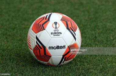 <div>BURTON ON SOAR, ENGLAND - SEPTEMBER 15: Europa League Ball during the Leicester City training session at Leicester City Training Ground, Seagrave on September 15, 2021 in Burton On Soar, United Kingdom. (Photo by Plumb Images/Leicester City FC via Getty Images)</div>