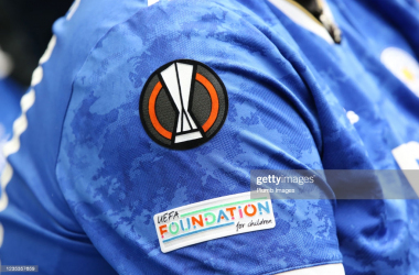 BRIGHTON, ENGLAND - SEPTEMBER 19: Europa League badge on a Leicester City shirt during the Premier League match between Brighton & Hove Albion and Leicester City at American Express Community Stadium on September 19, 2021 in Brighton, England. (Photo by Plumb Images/Leicester City FC via Getty Images)