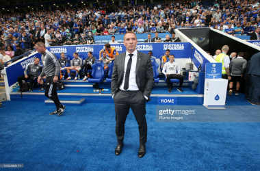 LEICESTER, ENGLAND - SEPTEMBER 25: Leicester City Manager Brendan Rodgers during the Premier League match between Leicester City and Burnley at King Power Stadium on September 25, 2021 in Leicester, England. (Photo by Plumb Images/Leicester City FC via Getty Images)