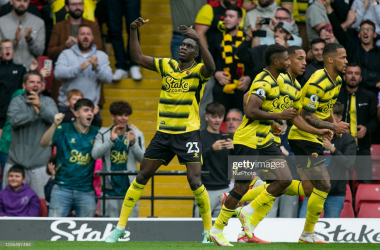 Ismaila Sarr celebrates after scoring during the Premier League match between Watford and Newcastle United viaFederico Maranesi-Getty Images