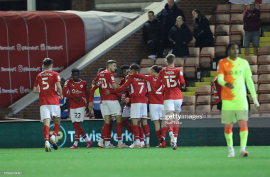 Barnsley's Cauley Woodrow celebrates after scoring scores from the penalty spot during the Sky Bet Championship match between Barnsley and Nottingham Forest at Oakwell, Barnsley on Wednesday 29th September 2021. (Photo by Mark Fletcher/MI News/NurPhoto via Getty Images)