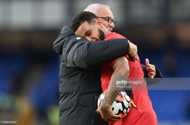Claudio Ranieri, Watford manager, hugs Joshua King following his hat-trick at Goodison Park in a 5-2 victory against Everton. Getty Images / Paul Ellis.