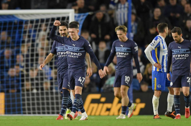 BRIGHTON, ENGLAND - OCTOBER 23: Phil Foden of Manchester City celebrates scoring his sides second goal during the Premier League match between Brighton & Hove Albion and Manchester City at American Express Community Stadium on October 23, 2021 in Brighton, England. (Photo by Vince Mignott/MB Media/Getty Images)
