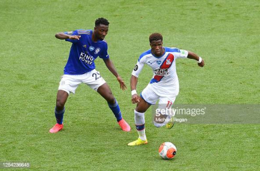 Wilfred Ndidi (left) hunts down possession of the ball.