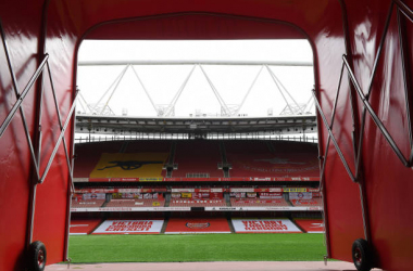 LONDON, ENGLAND - JULY 26: View from the players tunnel before the Premier League match between Arsenal FC and Watford FC at Emirates Stadium on July 26, 2020 in London, England. (Photo by Stuart MacFarlane/Arsenal FC via Getty Images)