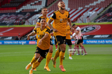 SHEFFIELD, ENGLAND - SEPTEMBER 14: Romain Saiss of Wolverhampton Wanderers celebrates scoring the second goal during the Premier League match between Sheffield United and Wolverhampton Wanderers at Bramall Lane on September 14, 2020 in Sheffield, United Kingdom. (Photo by Visionhaus)