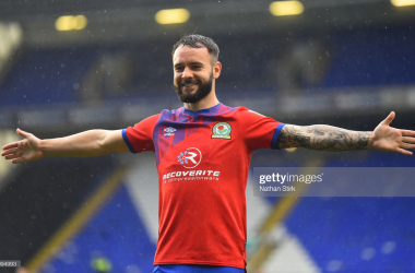 Adam Armstrong of Blackburn Rovers celebrates after he scores their second goal of the game during the Sky Bet Championship match between Coventry City and Blackburn Rovers at St Andrew's Trillion Trophy Stadium on October 24, 2020 in Birmingham, England. Sporting stadiums around the UK remain under strict restrictions due to the Coronavirus Pandemic as Government social distancing laws prohibit fans inside venues resulting in games being played behind closed doors. (Photo by Nathan Stirk/Getty Images)