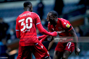 Yakou Meite of Reading FC celebrates after scoring his sides first goal during the Sky Bet Championship match between Blackburn Rovers and Reading at Ewood Park on October 27, 2020. (Photo by Clive Brunskill/Getty Images)