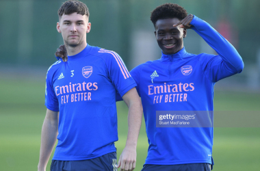 ST ALBANS, ENGLAND - NOVEMBER 07: (L-R) Kieran Tierney and Bukayo Saka of Arsenal during a training session at London Colney on November 07, 2020 in St Albans, England. (Photo by Stuart MacFarlane/Arsenal FC via Getty Images)