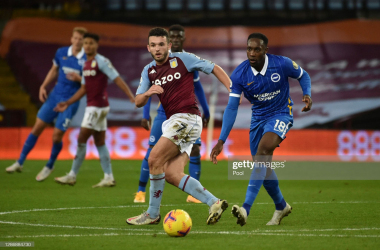 John McGinn is challenged by Danny Welbeck via Getty Images