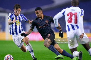 City forward Garbiel Jesus battles for the ball against FC Porto in the Champions League | Quality Sport Images/Getty Images