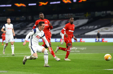 <div>LONDON, ENGLAND - DECEMBER 10: Giovani Lo Celso of Tottenham Hotspur scores their team's second goal during the UEFA Europa League Group J stage match between Tottenham Hotspur and Royal Antwerp at Tottenham Hotspur Stadium on December 10, 2020 in London, England. A limited number of fans (2000) are welcomed back to stadiums to watch elite football across England. This was following easing of restrictions on spectators in tiers one and two areas only. (Photo by Julian Finney/Getty Images)</div><div><br></div>