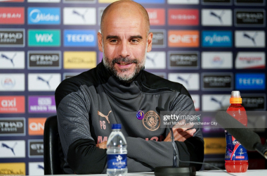 Pep Guardiola addresses the media pre-Aston Villa at the Etihad | Matt McNulty - Manchester City / Getty Images