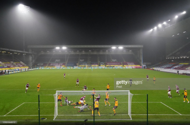 BURNLEY, ENGLAND - DECEMBER 21: A general view as Chris Wood of Burnley scores their team's second goal during the Premier League match between Burnley and Wolverhampton Wanderers at Turf Moor on December 21, 2020 in Burnley, England. The match will be played without fans, behind closed doors as a Covid-19 precaution. (Photo by Jon Super - Pool/Getty Images)