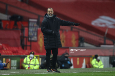 MANCHESTER, ENGLAND - DECEMBER 29: Nuno Espirito Santo, Manager of Wolverhampton Wanderers gives his team instructions during the Premier League match between Manchester United and Wolverhampton Wanderers at Old Trafford on December 29, 2020 in Manchester, England. The match will be played without fans, behind closed doors as a Covid-19 precaution. (Photo by Martin Rickett - Pool/Getty Images)