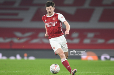 LONDON, ENGLAND - JANUARY 09: Kieran Tierney of Arsenal during the FA Cup Third Round match between Arsenal and Newcastle United at Emirates Stadium on January 09, 2021 in London, England. The match will be played without fans, behind closed doors as a Covid-19 precaution. (Photo by Stuart MacFarlane/Arsenal FC via Getty Images)