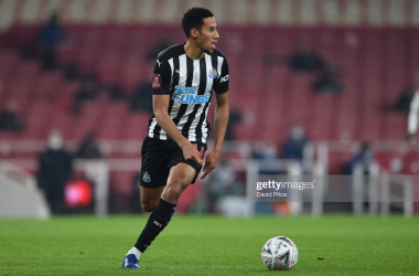 LONDON, ENGLAND - JANUARY 09: Isaac Hayden of Arsenal during the FA Cup Third Round match between Arsenal and Newcastle United on January 09, 2021 in London, England. (Photo by David Price/Arsenal FC via Getty Images)