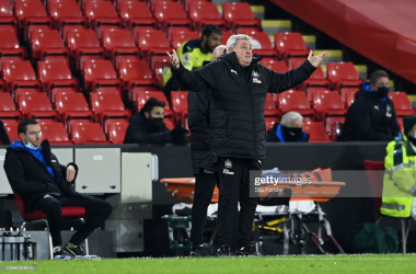 SHEFFIELD, ENGLAND - JANUARY 12: Steve Bruce, Manager of Newcastle United reacts during the Premier League match between Sheffield United and Newcastle United at Bramall Lane on January 12, 2021 in Sheffield, England. Sporting stadiums around England remain under strict restrictions due to the Coronavirus Pandemic as Government social distancing laws prohibit fans inside venues resulting in games being played behind closed doors. (Photo by Stu Forster/Getty Images)