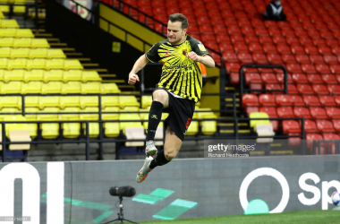 Tom Cleverley celebrates after scoring Watford's first goal in a 2-0 win over Huddersfield at Vicarage Road (Photo by Richard Heathcote/Getty Images)