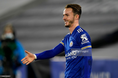 LEICESTER, ENGLAND - JANUARY 16: James Maddison of Leicester City celebrates after scoring their team's first goal during the Premier League match between Leicester City and Southampton at The King Power Stadium on January 16, 2021 in Leicester, England. Sporting stadiums around England remain under strict restrictions due to the Coronavirus Pandemic as Government social distancing laws prohibit fans inside venues resulting in games being played behind closed doors. (Photo by Tim Keeton - Pool/Getty Images)