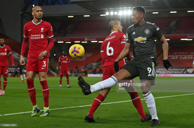<div>LIVERPOOL, ENGLAND - JANUARY 17: Anthony Martial of Manchester United looks to break past Thiago of Liverpool during the Premier League match between Liverpool and Manchester United at Anfield on January 17, 2021 in Liverpool, England. Sporting stadiums around England remain under strict restrictions due to the Coronavirus Pandemic as Government social distancing laws prohibit fans inside venues resulting in games being played behind closed doors. (Photo by Paul Ellis - Pool/Getty Images)</div><div><br></div>