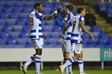 Lucas Joao of Reading celebrates after scoring their sides first goal with team mates John Swift and Andy Rinomhota during the Sky Bet Championship match between Reading and Coventry City at Madejski Stadium on January 19, 2021 in Reading, England. Sporting stadiums around the UK remain under strict restrictions due to the Coronavirus Pandemic as Government social distancing laws prohibit fans inside venues resulting in games being played behind closed doors. (Photo by Justin Setterfield/Getty Images)