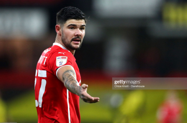 Alex Mowatt of Barnsley gestures during the Sky Bet Championship match between Watford and Barnsley at Vicarage Road on January 19, 2021 in Watford, England. Sporting stadiums around the UK remain under strict restrictions due to the Coronavirus Pandemic as Government social distancing laws prohibit fans inside venues resulting in games being played behind closed doors. (Photo by Chloe Knott - Danehouse/Getty Images)