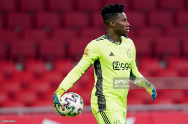 AMSTERDAM, NETHERLANDS - JANUARY 28: goalkeeper Andre Onana of Ajax during the Dutch Eredivisie match between Ajax and Willem II at Johan Cruijff Arena on January 28, 2021 in Amsterdam, Netherlands (Photo by Geert van Erven/BSR Agency/Getty Images)