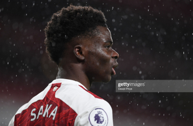LONDON, ENGLAND - FEBRUARY 14: Bukayo Saka of Arsenal during the Premier League match between Arsenal and Leeds United at Emirates Stadium on February 14, 2021 in London, England. (Photo by David Price/Arsenal FC via Getty Images)